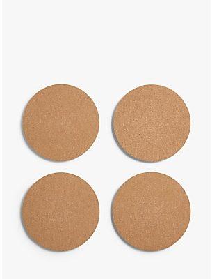 John Lewis & Partners Round Cork Placemats, Set of 4, Natural