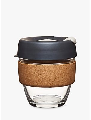 KeepCup Cork Brew Reusable 8oz Glass Coffee Cup / Travel Mug, 227ml