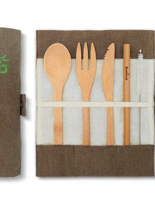Bambaw Bamboo Cutlery Set & Jute Pouch