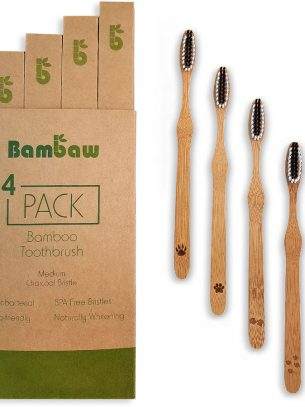 Bambaw Bamboo Medium Toothbrushes - Pack of 4