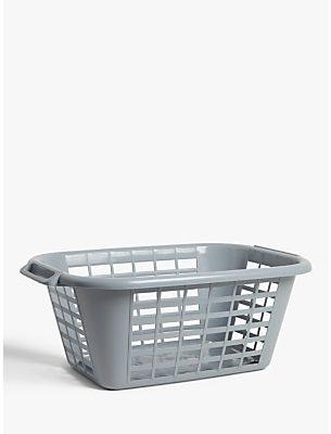 John Lewis & Partners Recycled Plastic Rectangular Laundry Basket, Grey