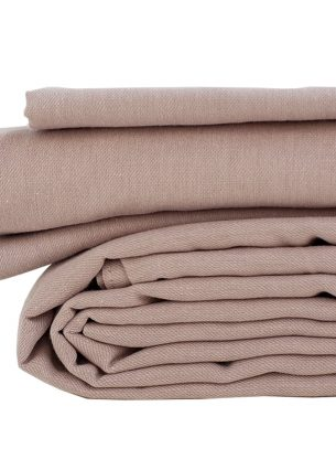 The Flax Sack Organic Linen Duvet Cover Set - Champagne Pink - Double