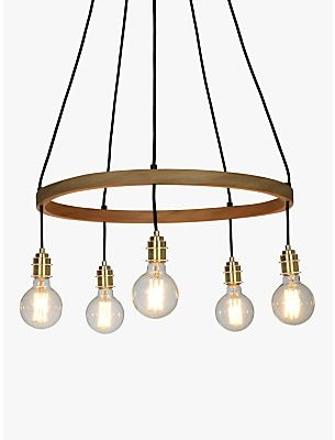 Tom Raffield Kern Small Pendant Ceiling Light, Solid Oak